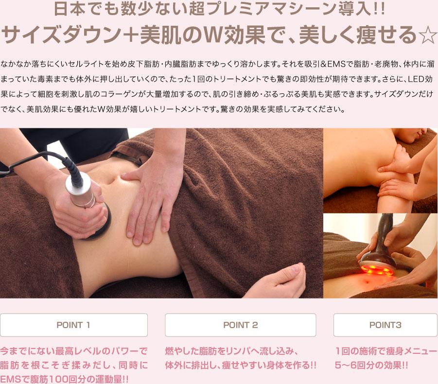 キャビリポスリム(120分) 日本でも数少ない超プレミアマシーン導入!!サイズダウン+美肌のW効果で、美しく痩せる☆